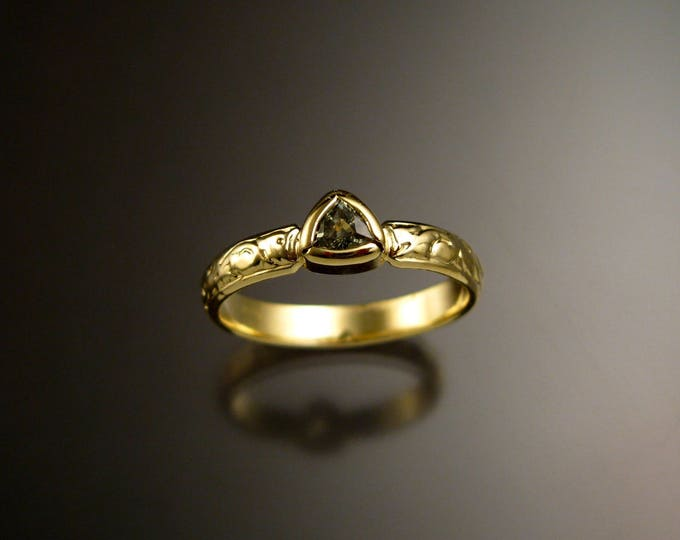 Green Sapphire triangle 14k Green Gold Victorian floral pattern wedding ring green Diamond substitute engagement ring Made to order