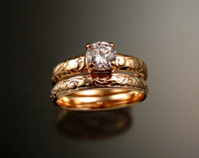 White Zircon Wedding set in 14k rose Gold Diamond substitute ring made to order in your size pink gold engagement rings