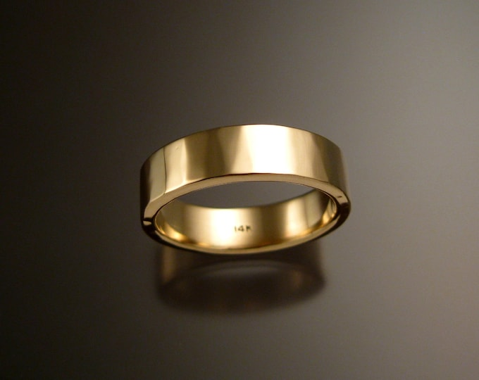 Yellow Gold Wedding band 2x6mm Heavy 14k rectangular comfort fit Mans lightly hammered finish ring Handmade in your size Grooms ring