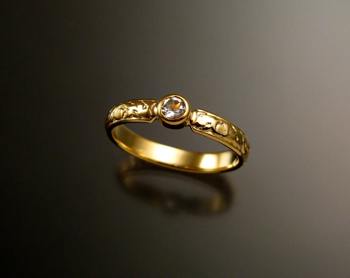 White Sapphire Wedding ring 14k Yellow Gold Victorian bezel set Diamond substitute ring made to order in your size