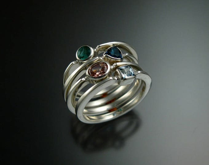 Stackable Mothers Birthstone ring set of Four 14k white Gold premium birthstone rings Made to order in your size