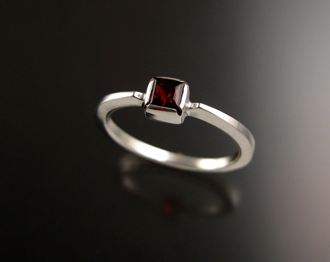 Garnet 4mm square stone ring 14k white Gold ring Made to order in your size Stackable Mothers ring