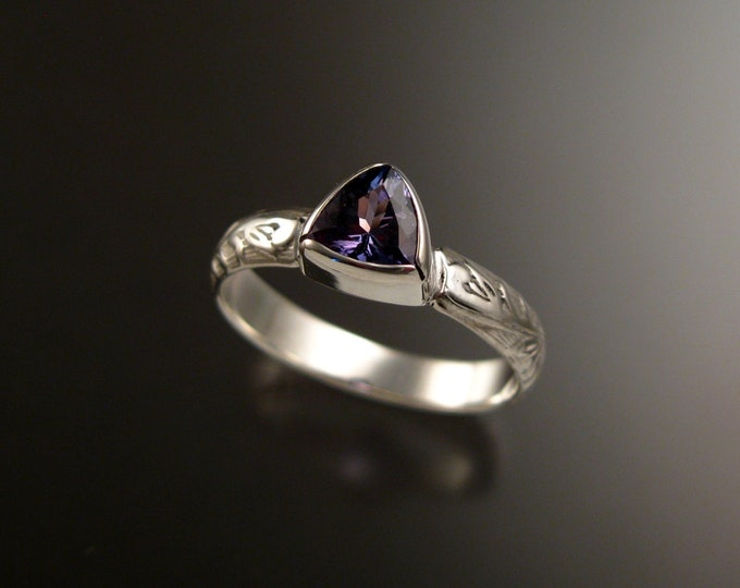 Tanzanite Triangle ring Sterling Silver Victorian bezel set stone ring made to order in your size