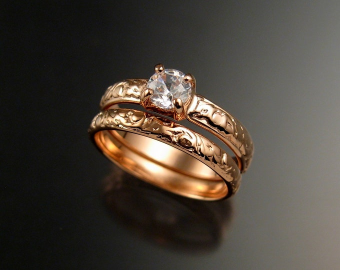 White Sapphire Wedding set 14k Rose gold Diamond substitute pink gold rings made to order in your size