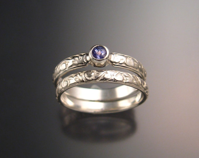 Tanzanite Wedding set 14k White Gold Victorian bezel set two ring set made to order in your size