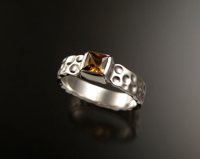 Zircon square Moonscape ring Chocolate Diamond substitute handcrafted in Sterling Silver made to order in your size