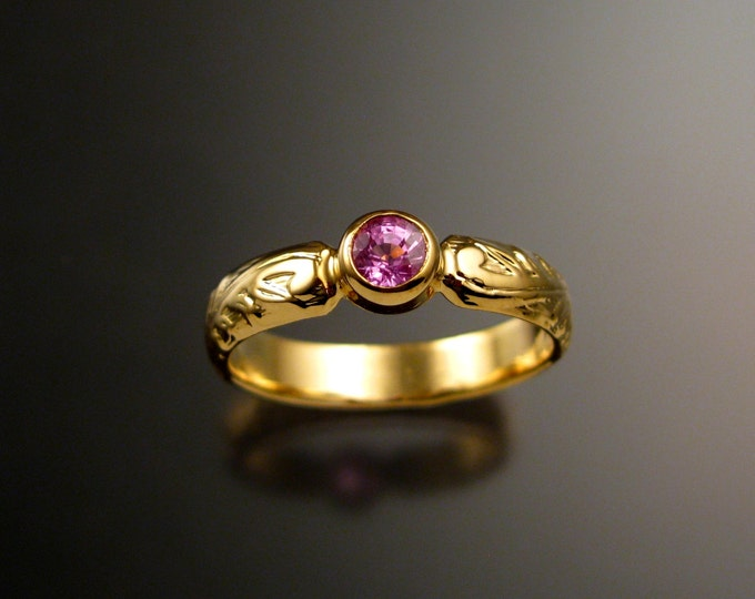 Pink Sapphire Wedding ring 14k Yellow Gold Victorian floral pattern Pink Diamond substitute ring made to order in your size