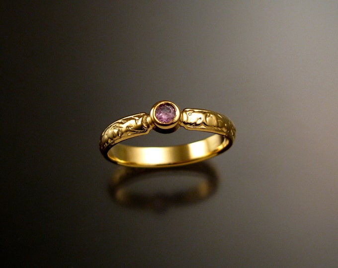 Pink Sapphire Wedding ring 14k Yellow Gold Victorian bezel set Pink Diamond substitute ring made to order in your size