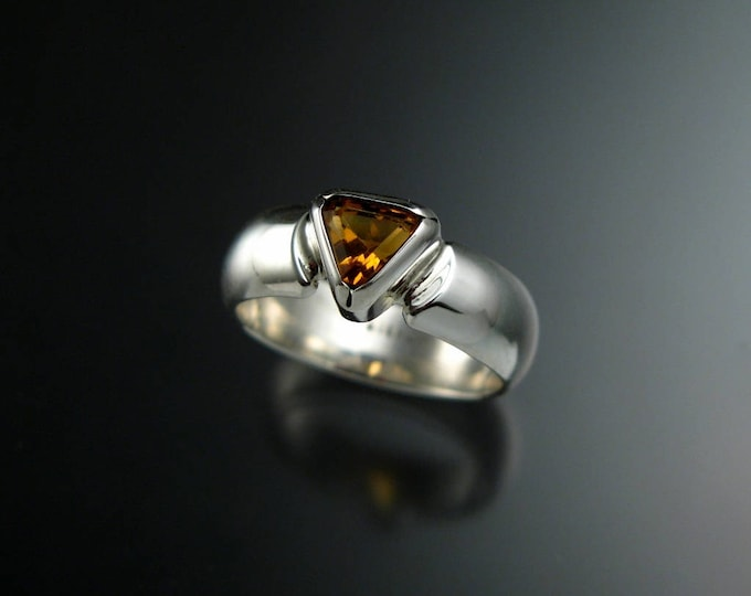 Citrine ring Set in Sterling Silver triangle shaped November birthstone ring made to order in your size