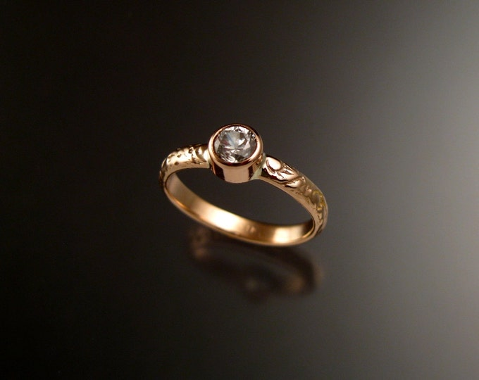 White Zircon Wedding ring 14k rose Gold Victorian bezel set Diamond substitute ring made to order in your size
