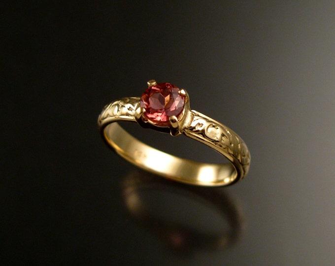 Pink Tourmaline 14k Yellow Gold Victorian floral pattern wedding engagement ring