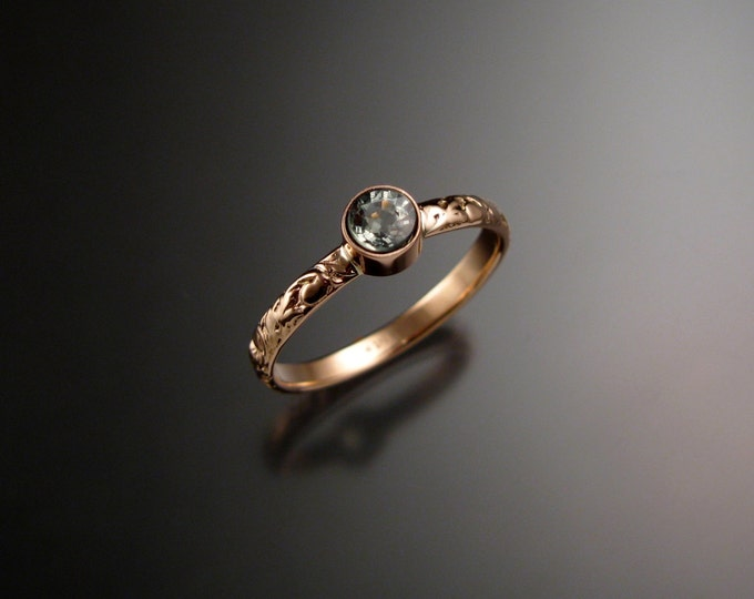 Green Sapphire ring 14k Rose Gold bezel set Victorian floral pattern green Diamond substitute ring made to order in your size