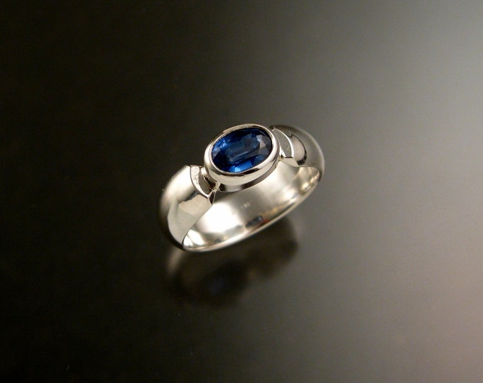 Kyanite ring blue Sapphire Substitute with sturdy Sterling silver band size 7