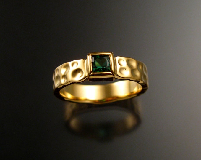 Green Tourmaline square Moonscape ring Emerald substitute handcrafted in 14k Yellow gold in your size