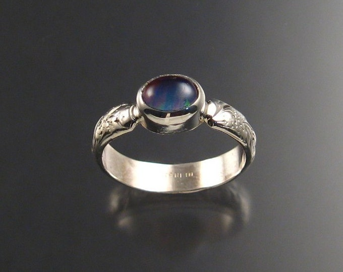Iolite and lab Opal Doublet ring sterling silver Made to order in your size