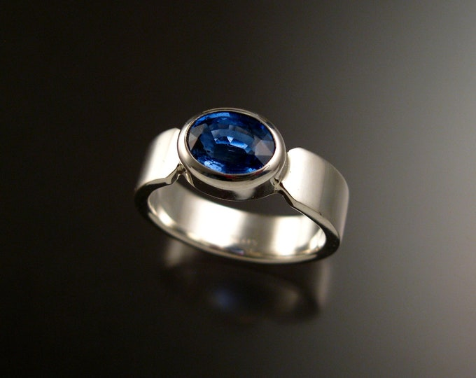 Kyanite ring large blue Sapphire Substitute ring made to order in your size sturdy silver band ring
