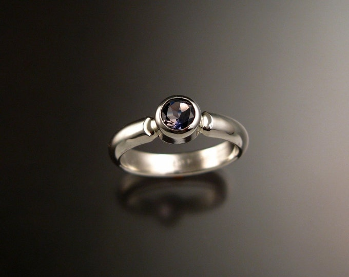 Iolite Ring Sterling Silver Bezel set stackable Sapphire substitute ring made to order in your size