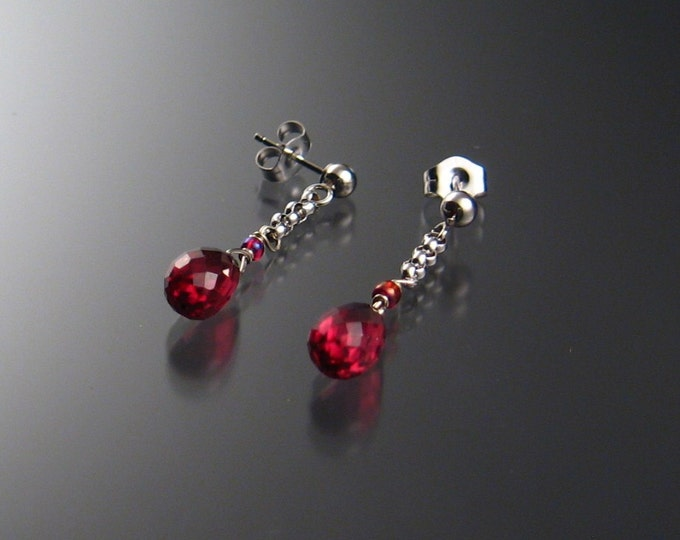 Garnet Briolette Earrings, 14k White Gold