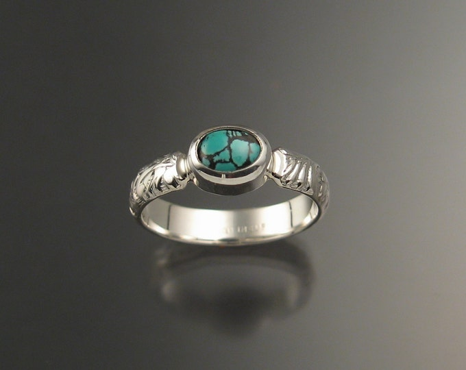 Turquoise sterling silver ring with Victorian floral pattern band and bezel set stone Handmade to order in your size