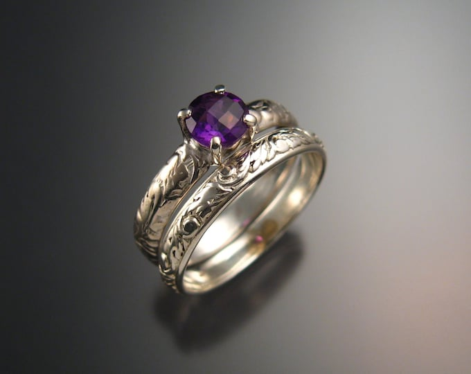 Amethyst Wedding set 14k White Gold ring handmade to order in your size