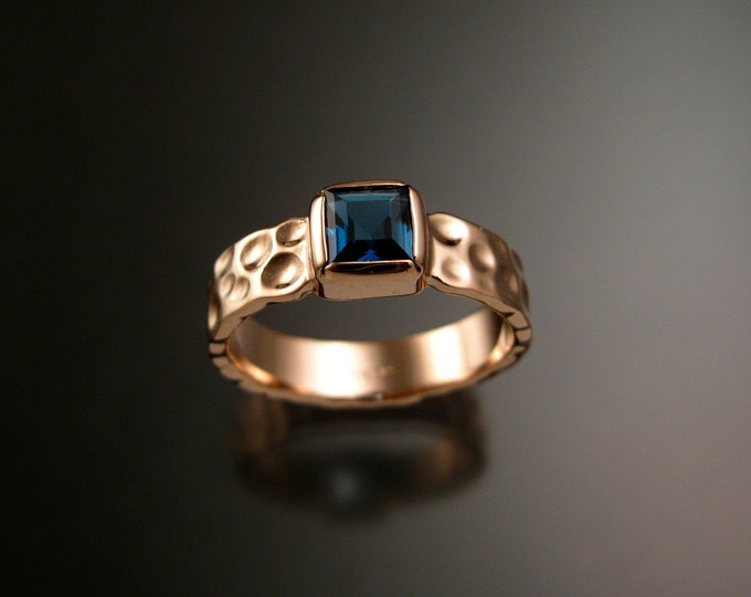 London Blue Topaz 6mm square Moonscape ring handcrafted in 14k Rose Gold made to order in your size