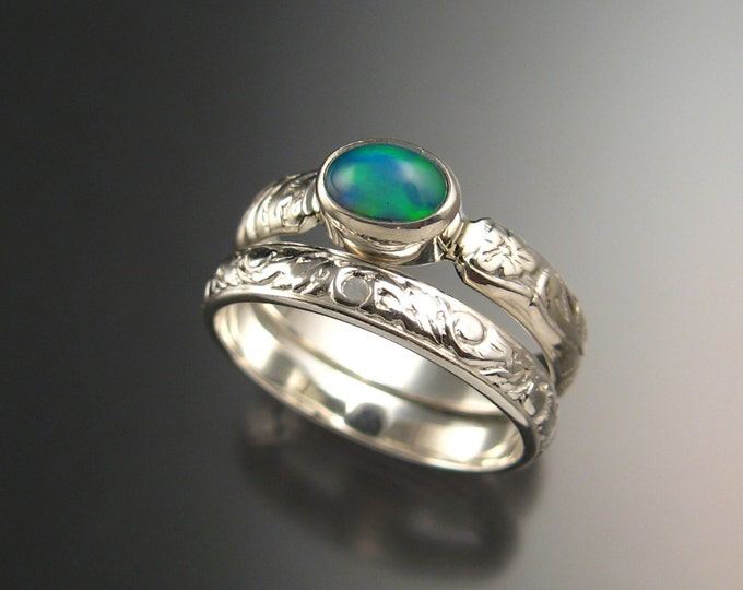 Opal and Sterling silver Wedding Ring Set Victorian floral pattern band made to order in your size