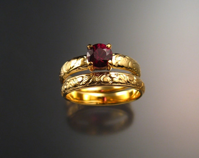 Garnet Wedding set 14k Yellow Gold Ruby substitute Natural Raspberry Rhodolite Garnet ring made to order in your size