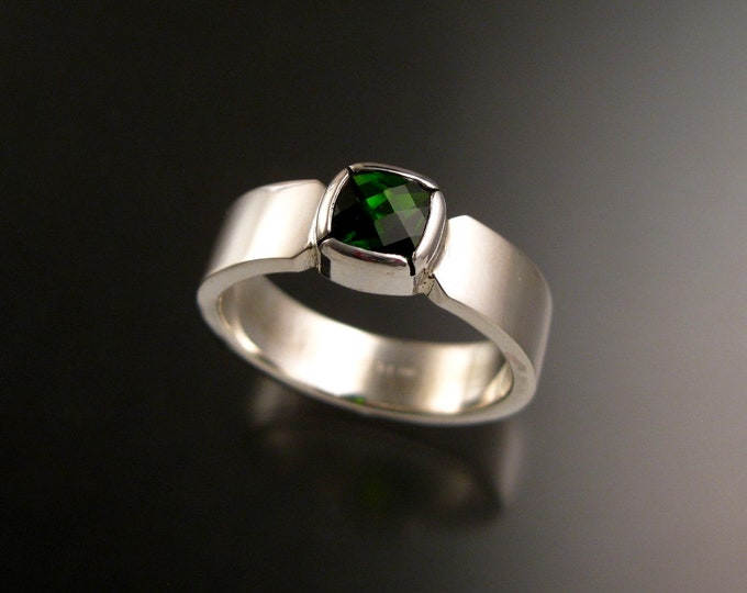 Chrome Diopside 6mm Cushion cut Sterling Silver Bezel set stone Emerald Substitute ring Rectangular band made to order in your size