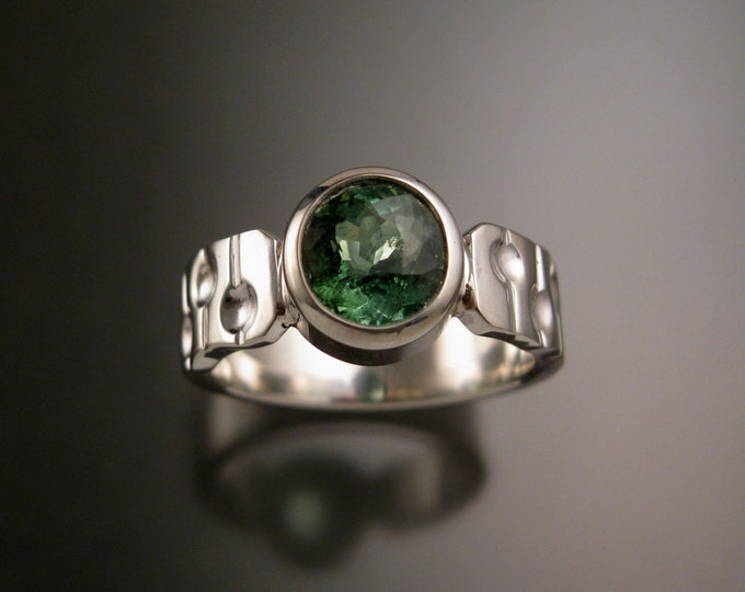 Green Tourmaline Ring Sterling silver Oval Emerald substitute bezel set stone size 9 1/2 bars and craters band
