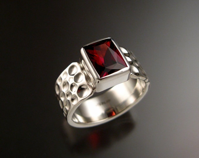 Garnet Ring Sterling Silver Moonscape band large rectangular stone mans ring Made to order in your size