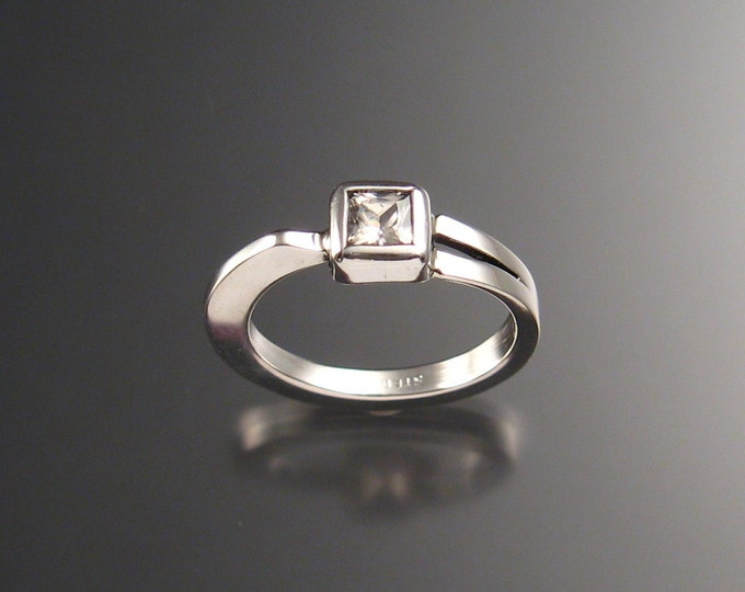 White Cubic Zirconia ring Sterling Silver princess cut stone ring Handmade to order in your Size