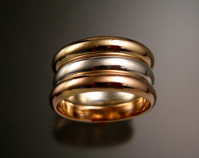 Rose and Yellow Gold Filled and Sterling Silver three ring Band tri-color stacking set Handmade to Order in your size