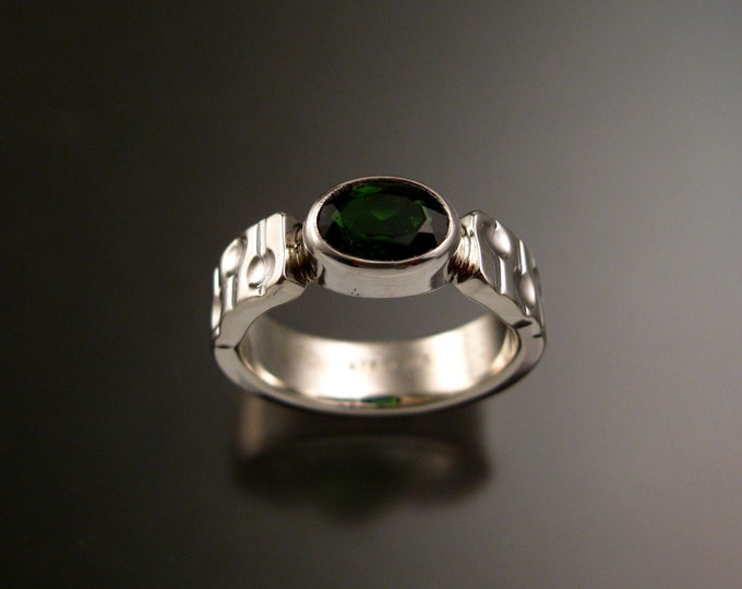 Green Tourmaline Ring Sterling silver 5 x 7 mm Oval Emerald substitute size 5 1/2 bars and craters band