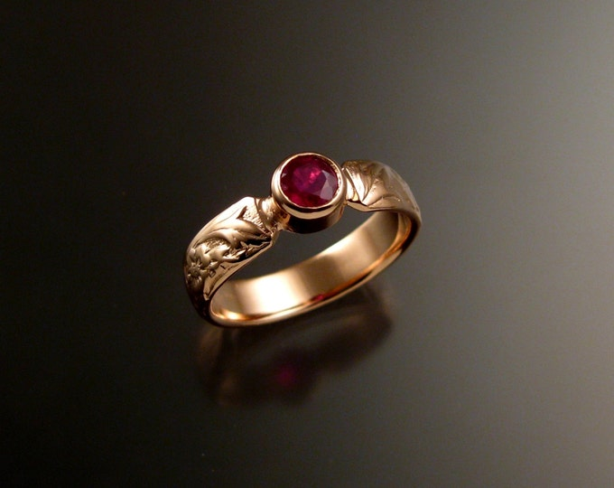 Ruby Rose Gold flower and vine pattern Natural Ruby 14k Pink Gold Victorian wedding ring made to order in your size ring