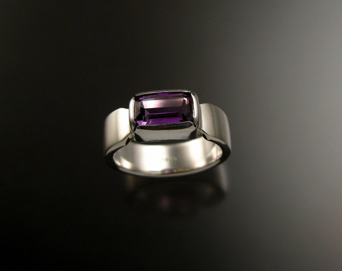 Amethyst ring Sterling silver rectangular cut stone size 7 1/2
