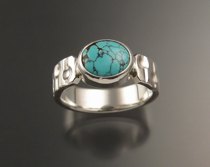 Turquoise sterling silver ring with hand stapped heavy rectangular band and bezel set stone Handmade to order in your size
