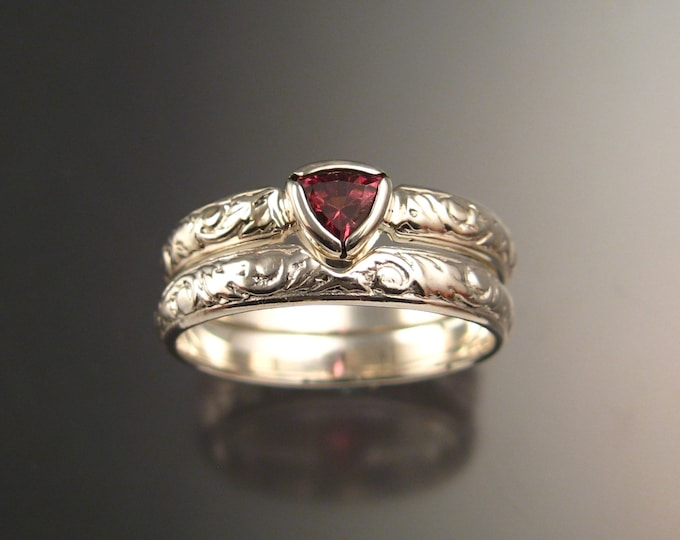 Pink Tourmaline Triangle Wedding set 14k White Gold Victorian bezel set Pink Diamond substitute ring made to order in your size