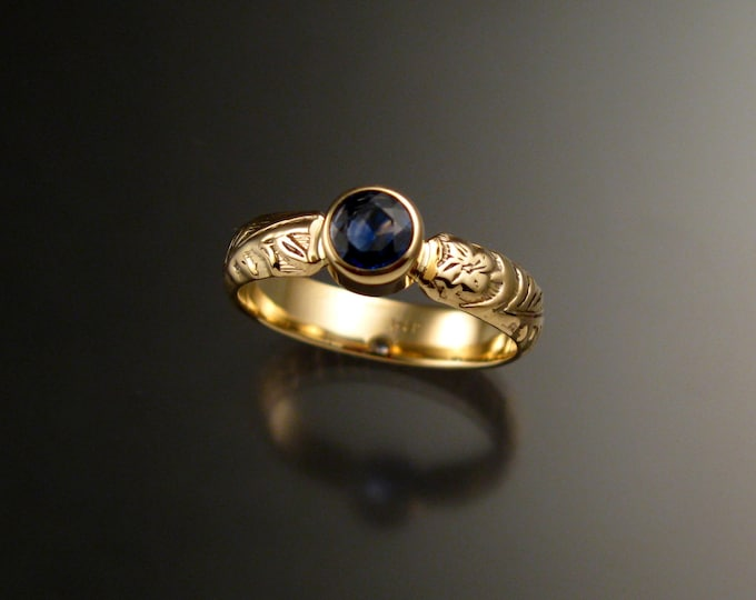 Sapphire Wedding ring 14k Yellow Gold Natural Electric blue Victorian floral pattern bezel set stone ring made to order in your size