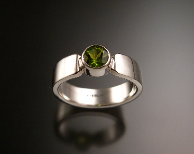 Peridot Sterling Silver handmade heavy rectangular band ring with bezel set stone ring made to order in your size