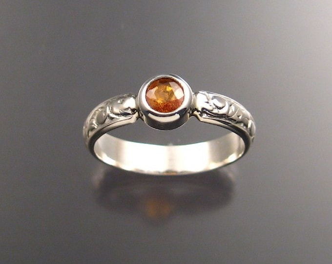 Orange Garnet Ring Sterling silver made to order in your size
