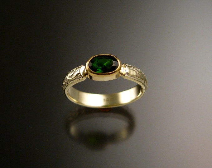 Chrome Diopside ring 14k Green Gold Emerald substitute ring with bezel set stone size 5 1/4