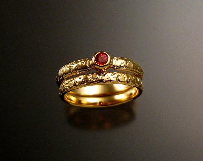 Orange Sapphire Wedding set 14k Yellow Gold Victorian bezel set Padparadscha ring made to order in your size