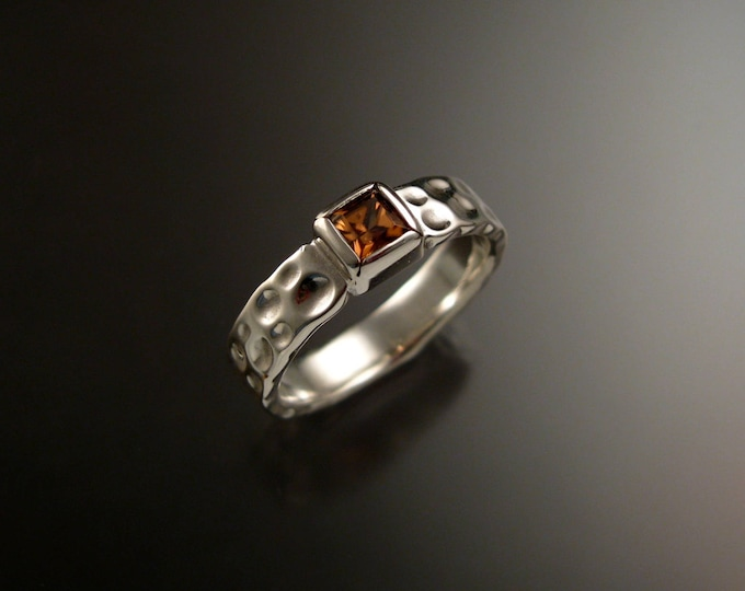 Zircon 4mm square Moonscape ring Chocolate Diamond substitute handmade in Sterling Silver made to order in your size