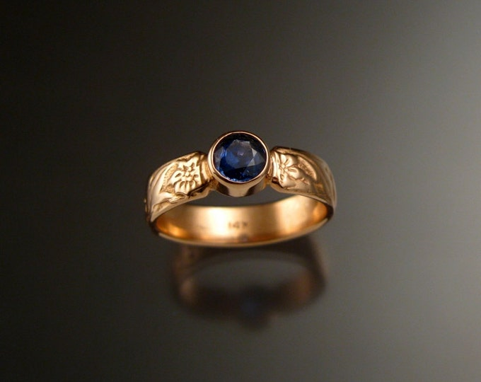 Sapphire Rose Gold flower and vine pattern deep blue Natural Sapphire Victorian 14k pink gold wedding ring