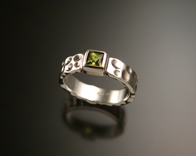 Peridot 4mm square Moonscape band handcrafted in 14k White Gold Ruby Substitute ring made to order in your size