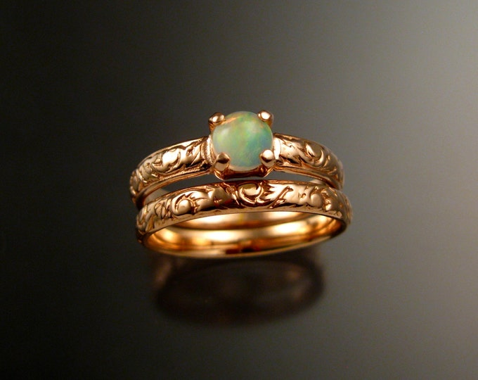 Opal and 14k rose Gold Wedding Ring Set Victorian floral pattern band made to order in your size