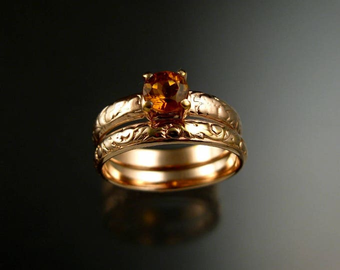 Citrine Wedding set 14k rose Gold Topaz substitute November Birthstone Victorian Floral Pattern two ring set made to order in your size