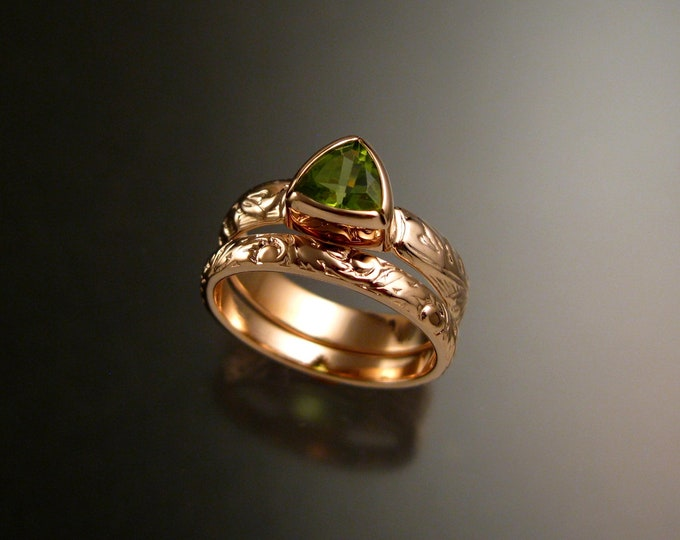 Peridot Triangle ring 14k Rose Gold Victorian bezel set stone two ring set made to order in your size