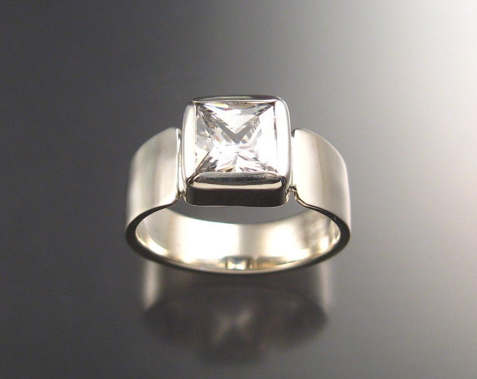 Cubic Zirconium Mans ring in Sterling Silver size 10