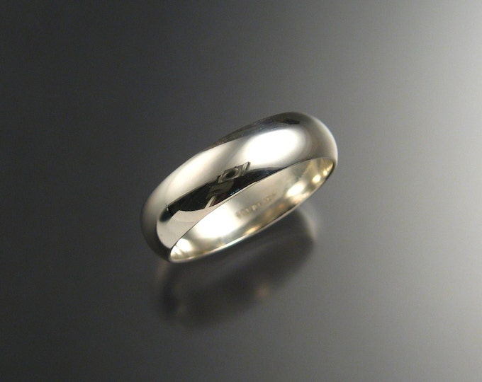 Heavy 14k White gold Half Round Wedding band Wide ring made to order in your size